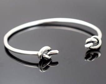 Cuff Bracelet, Knot Cuff Bracelet, Bangle bracelet, Sterling silver cuff bracelet, double knot bracelet, sterling silver knot bracelet gift