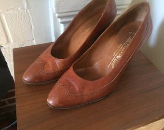 Vintage Italian Brogued Leather Evan Piccone Pumps, Brown, Size 7
