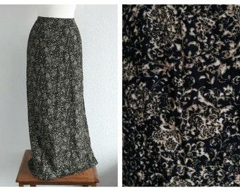 Vintage 90s Grunge Maxi Skirt - Vintage Black Floral Skirt - Grunge Festival Boho