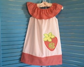 Girls Strawberry Dress White and Red with Monogram in Sizes Newborn, 6 Months, 12 Months, 18 Months, 2T, 3T or 4T