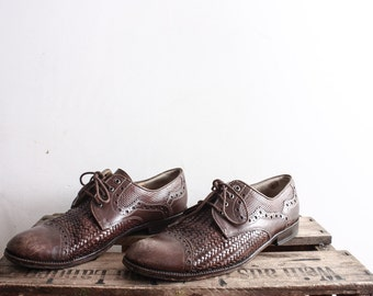 Vintage LLOYD Oxfords Brown Lace Up Shoes Wingtips Sandals Costume Boho Shoes