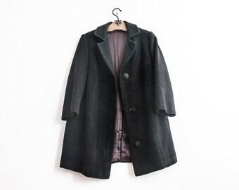 B23/ Vintage Wool Coat 1980s Gray Overcoat Jacket Double Breasted Gentlemen Trench Coat Retro