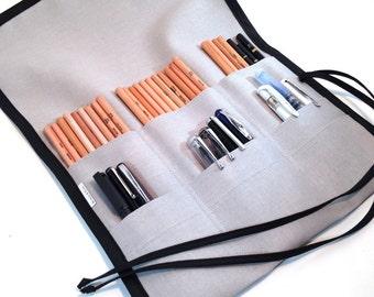 L | 48 Pencil Canvas Pencil Case / 9-pocket /  Grey with black