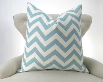 Blue Zigzag Pillow Cover -MANY SIZES- Chevron Village - decorative throw euro sham cushion modern contemporary premier prints 28 22 18