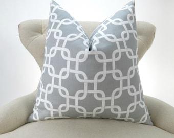 Gray Chain Pillow cover -up to 28x28- gotcha storm grey white geometric throw cushion euro sham Premier Prints modern floor large big