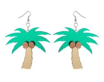 Palm Tree earrings - laser cut mirrored acrylic