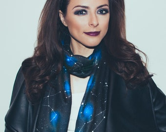Constellation LED Scarf, Wearable Technology, Light Up Astronomy Scarf, Space Scarf, Star Atlas, Astronomer Gift, Black Fleece Scarf