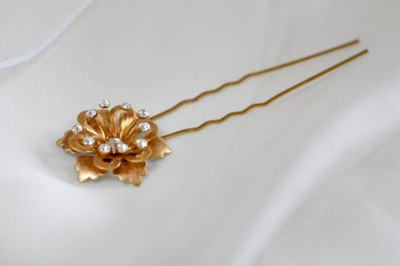 Crystal Flower - Gold Hair Pin