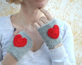 Crochet red heart mittens, grey fingerless gloves, elegant wrist warmers