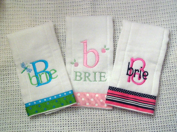Set of 3 Personalized Monogrammed Burp Cloths for Her