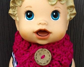 Crochet Pink Babydoll Scarf