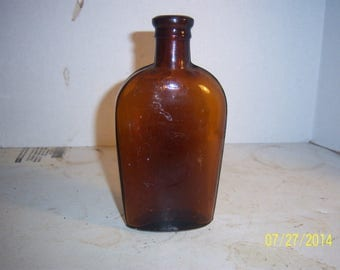 1880's Amber 1/2  Pint Strap Sided Whiskey Liquor Medicine Flask Bottle No 1A