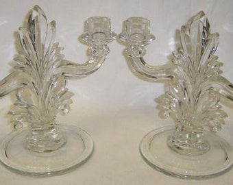 Indiana Glass Crystal FLAME 8 Inch High Double CANDLE HOLDERS, Pair