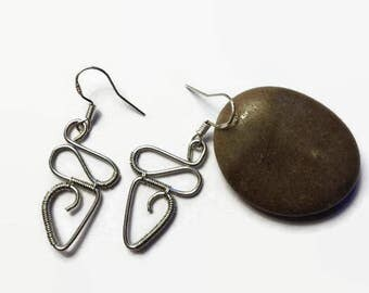 Silver Abstract Wire Wrap Earrings/ Wire Wraped Earrings/ Silver Earrings/ Abstract Earrings/ Wire Wrapped Jewelry