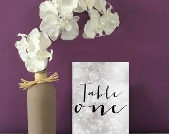 Script Wedding Table Numbers