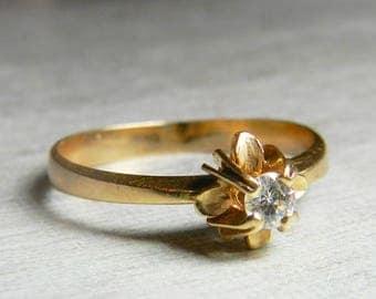 Vintage Diamond Ring 14K Rose Gold Diamond Engagement Ring Rose Gold Diamond Ring Round Cut antique diamond Ring