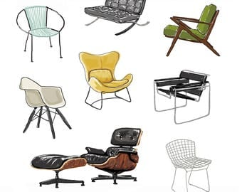 Mid Century Modern Chairs Illustration Print