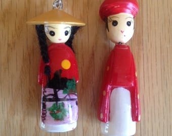SALE! pair of wooden Asian doll keychains