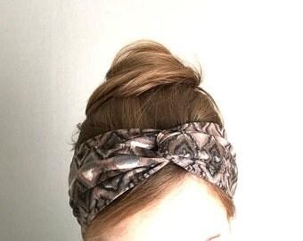 ethnic twist headband beige brown turban jersey knit turband stretch headwrap casual head warmer no slip headband heawraps tribal