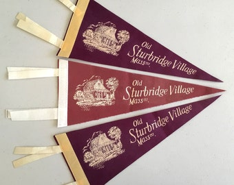 Vintage Travel Pennants - 'Old Sturbridge Village Mass' Massachusetts Mini Pennants