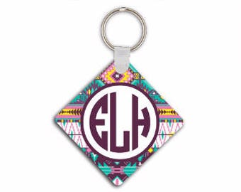 Tribal key chain monogram, Aztec car keychain in purples and light blue, Personalised car accessories, Gifts for new driver, Under 10 (1002)