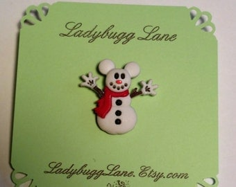 Mouse Snowman Pin Brooch