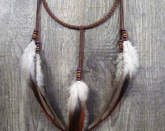 Dream Catcher Chocolate Brown Suede with Rooster Feathers