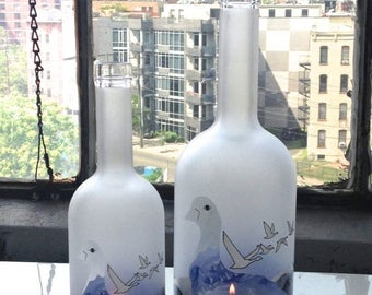 SALE TODAY ONLY Grey Goose Vodka Bottle Hurricane Lamps - Set of Two