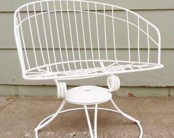ON SALE 1960'S, Homecrest, Wire, Chair Eames Era, Metal, White, Barrel Chair, Vintage, Mid Century Modern, Swivel Rocking Chair, Lounge Chai