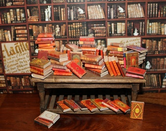 Dollhouse miniature 70 different red books set