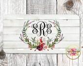 Floral Deer Antlers - Red Roses - Vintage - Boho - Light Wood - Personalized - License Plate - Aluminum - Monogrammed - Car Tag