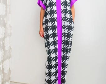 ON SALE Black and White dress/ Caftan/ Maxi Dress/ Plaid dress/ Plus size dress/ Plus size clothing/ Oversized dress/ Summer dress