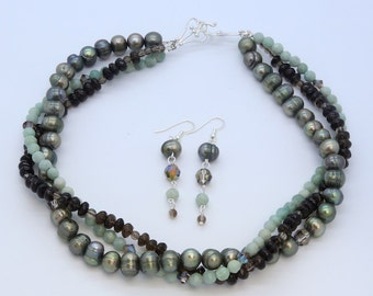 Original Artist Created 3-Strand Necklace and Earrings Set, Gemstone and Pearls