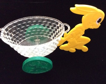 Vintage Easter Bunny and Cart Hard Plastic MAR