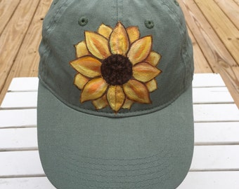 Sunflower Hat, Sage Green Cap, Authentic Pigment, Hand Painted, Women's Hat