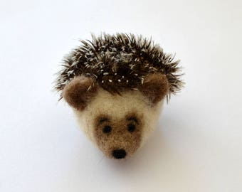 NEEDLE FELTED HEDGEHOG / Wool Felt Hedgehog / Mohair Hedgehog / Tiny Hedgehog / Made in Maine by Caryn Burwood of Purple Moose Felting