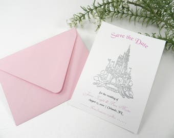 Disney Castle Wedding Save the Date Set - Silver and Pink - Style 221