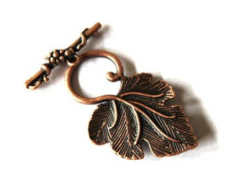 2 Antique Bronze Leaf Toggle Clasps