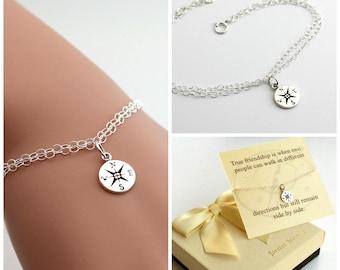 Compass bracelet, best friends, sister bracelet. Journey bracelet. Sterling silver compass bracelet