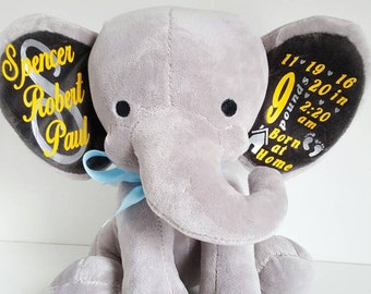 Personalized Birth stats stuffed animal/elephant/vinyl iron on/custom/baby gift/personalized