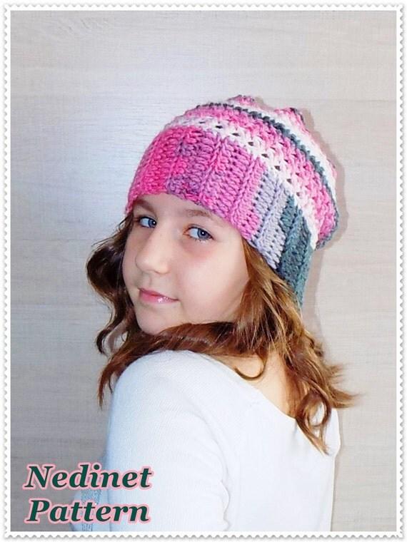 Crochet pattern, crochet slouchy hat pattern, crochet hat ...