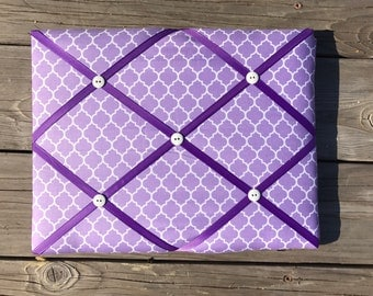 Lavender PhotoBoard | Lavender Memo Board | Lavender Nursery Room Decor | Lavender and Purple Wall Hanging | Lavender Quatrefoil Hair Clip