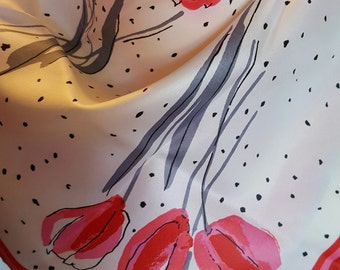 "Vintage VERA NEUMANN Scarf / 21""x21"" / Spring Tulips Pinks Gray / Hand Rolled / Polyester / Japan"