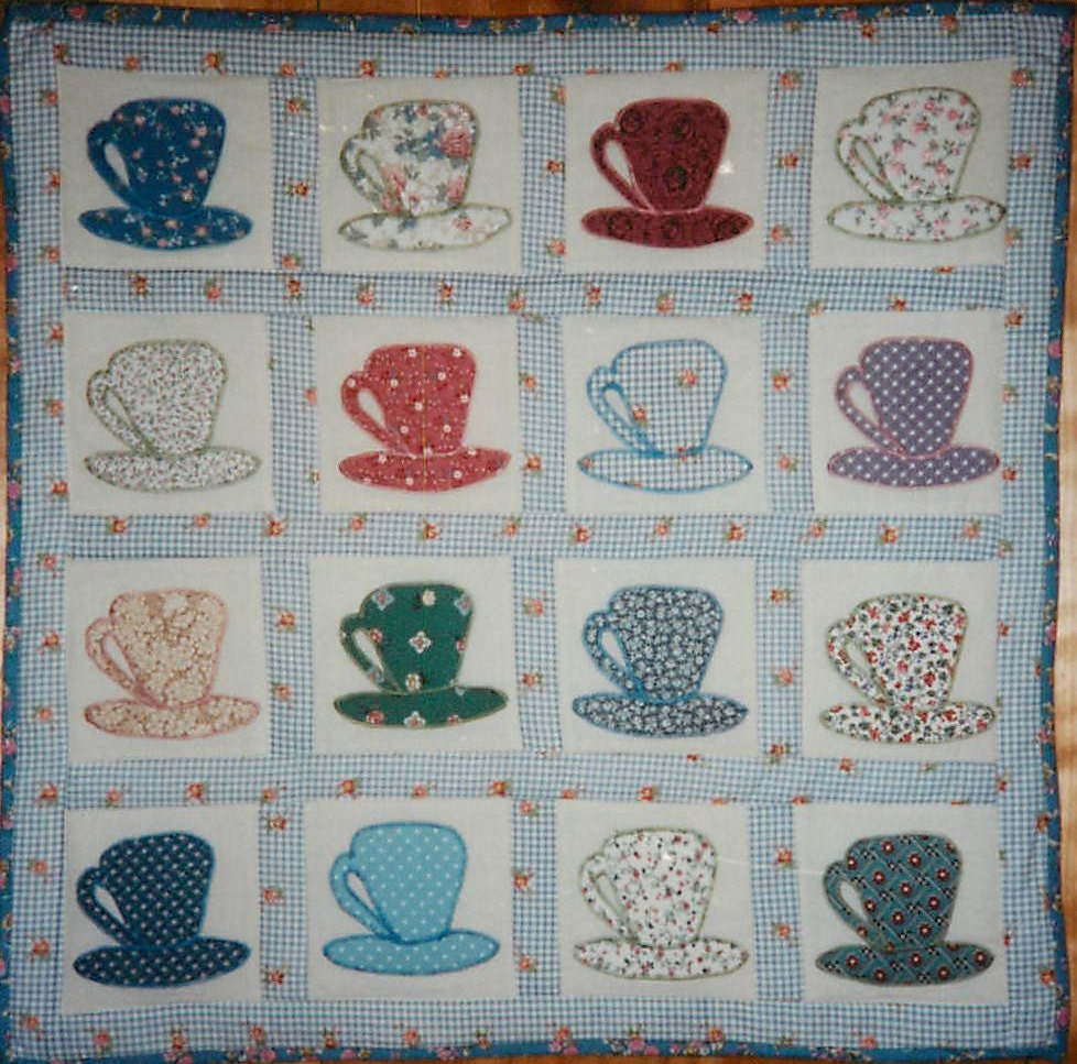 Teacup Wall Quilt Pattern Wall Hanging Wall Art Teacup Quilt