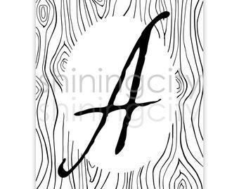 Large Letter A Print, printable letter art, letters, typography, monogram art, modern rustic décor, alphabet, poster, initials, wood grain