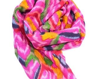 pink silk scarf, pink neck scarf, ikat scarves, soft silk colorful scarf, bohemian boho tie dye indian scarf, pink ikat, tie dye scarf