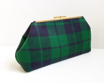 Green and Navy Plaid Clutch