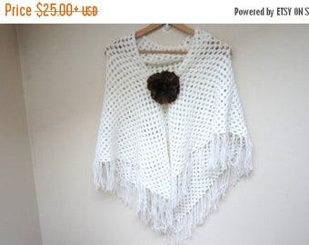 ON SALE Scarf shawl wrap crochet knit triangle white acrylic poncho neckwarmer handmade long soft fringed openwork with felt flower pin broo
