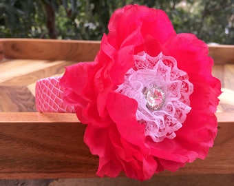 Hot Pink & White Flower Headband