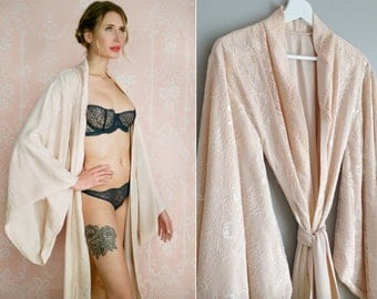 """Fountainbleu. Full length lined """"Noguchi"""" lace robe Long nude blush bridal lingerie robe lined with the softest faux silk crepe de chine"""